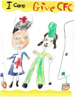 "Drawing of a nurse helping an injured person and text ""I care Give CFC"""
