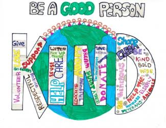 "Word cloud drawing depicting the word ""Kind"" with text ""Be a good person"""