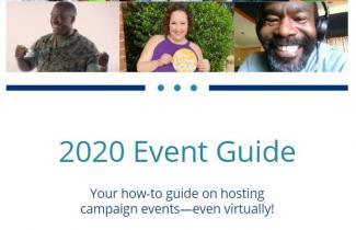 "Images of three federal emloyees and text ""2020 Event Guide - Your how-to guide on hosting campaign events- even virtually!"""